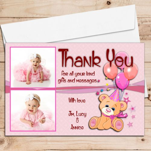 10 Personalised Teddy Thank you PHOTO Cards N126 - Any Occasion